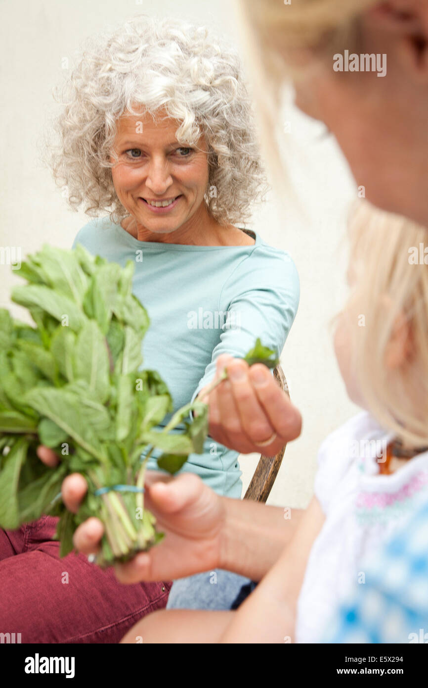 Mature woman with daughter and granddaughter smelling bunch of mint in garden - Stock Image
