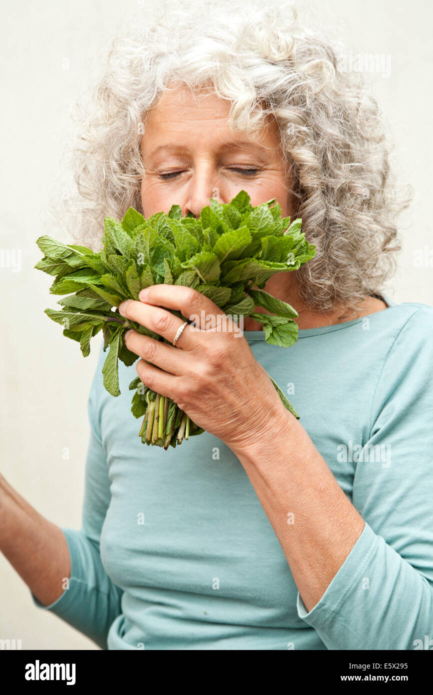 Mature woman smelling bunch of mint in garden - Stock Image