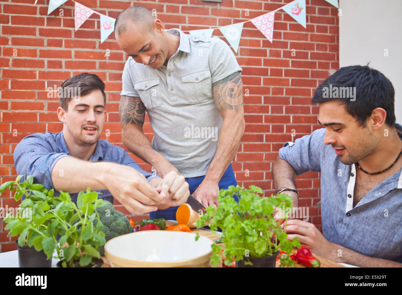 Three male friends chopping and preparing food for garden barbecue - Stock Image
