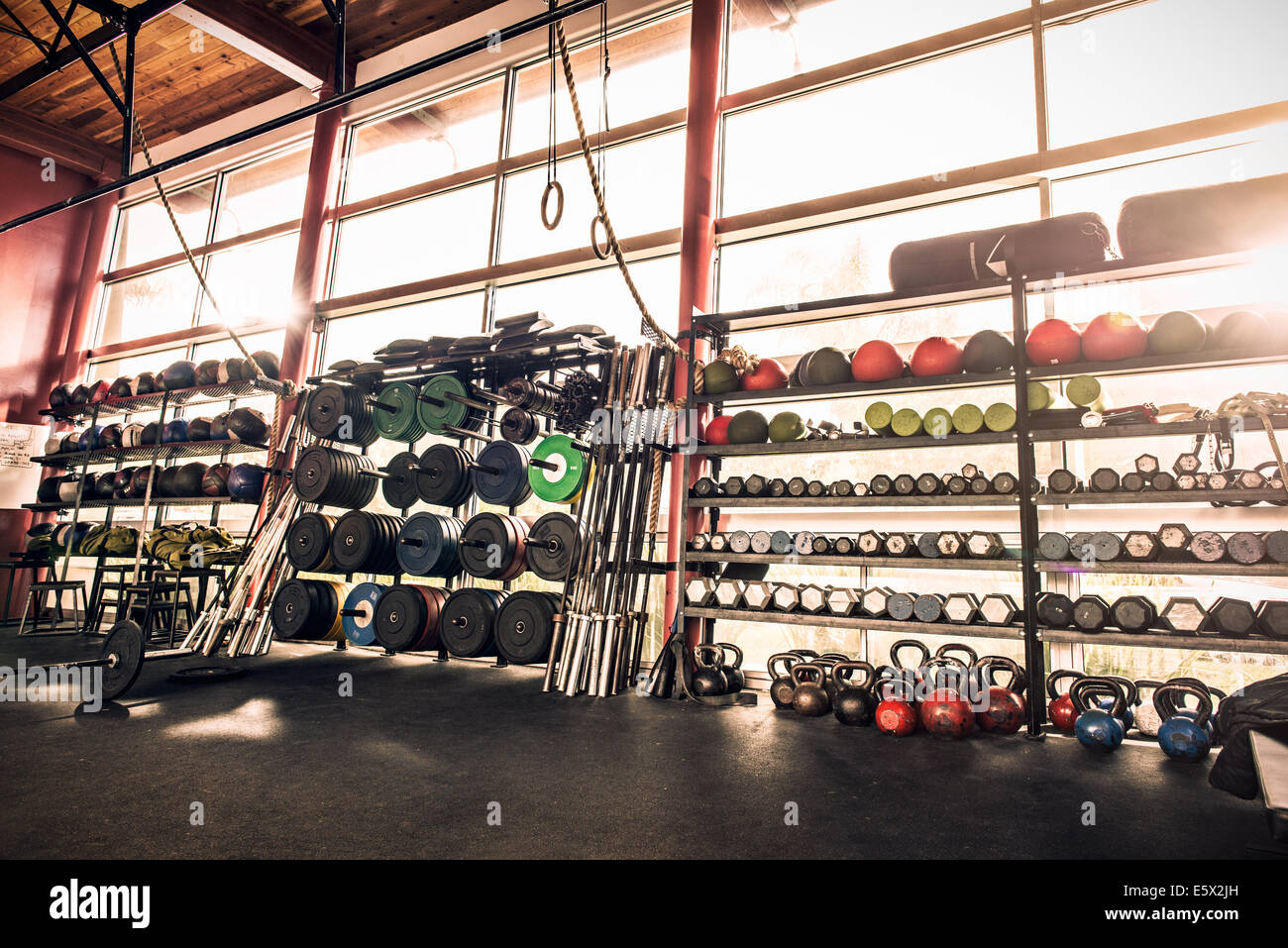 Gym equipment - weights, gym balls, kettle bells Stock Photo