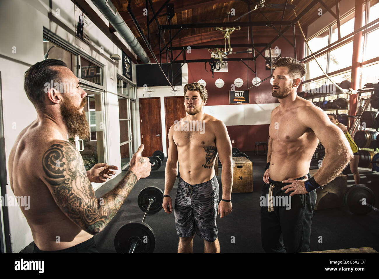 Bodybuilders chatting in gym - Stock Image