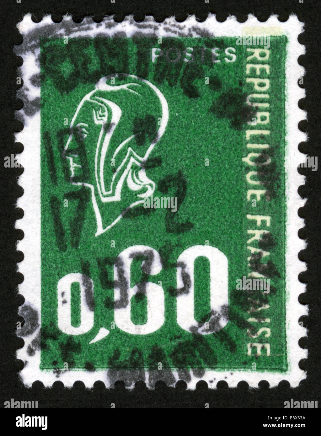 France - CIRCA 1976: Marianne type Bequet (1 band of phosphorus), Definitive Issue, 1976-08-02, - Stock Image