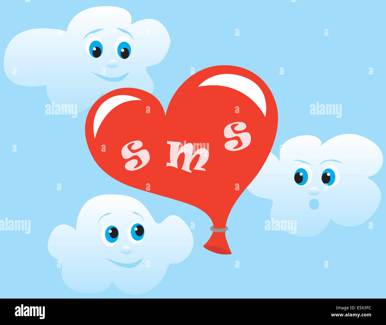 ball as a heart personifying sms flies on sky to the addressee - Stock Image