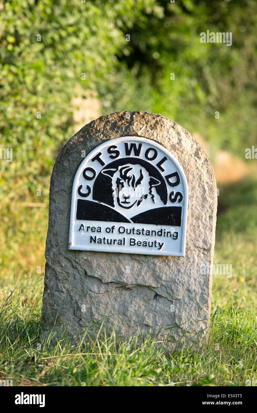 Cotswolds 'area of outstanding natural beauty' sign - Stock Image