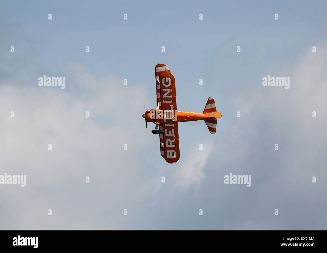 View of a Breitling bi-plane at a airshow in the UK - Stock Image