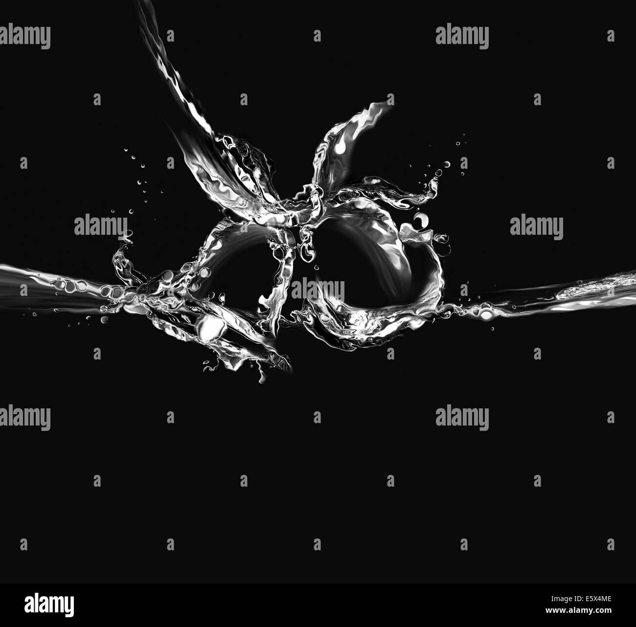 Silhouette of two bells made of water in a ringing motion, on black. - Stock Image