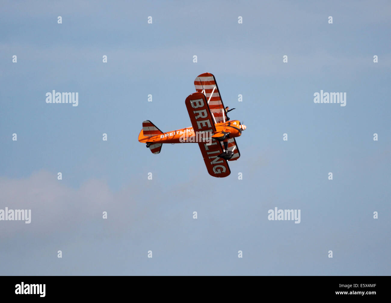 Breitling biplane flying at a airshow - Stock Image