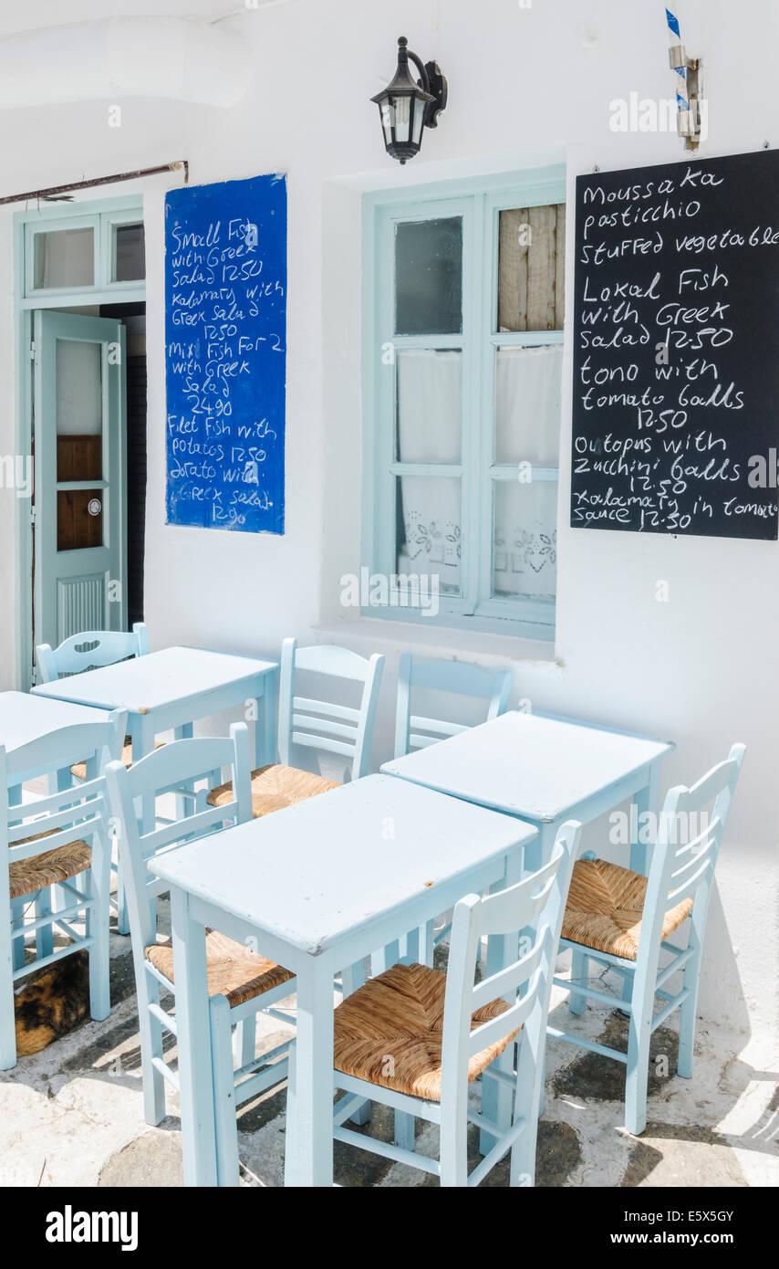 Blackboard menus at a Greek taverna in Naoussa Town, Paros Island, Cyclades, Greece - Stock Image