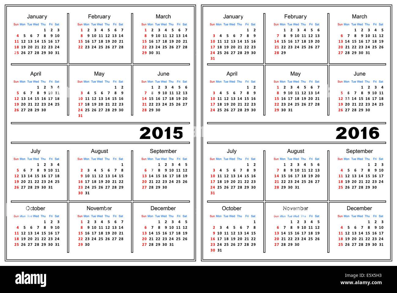 Calendar Template 2015 2016 Stock Photos Calendar Template 2015