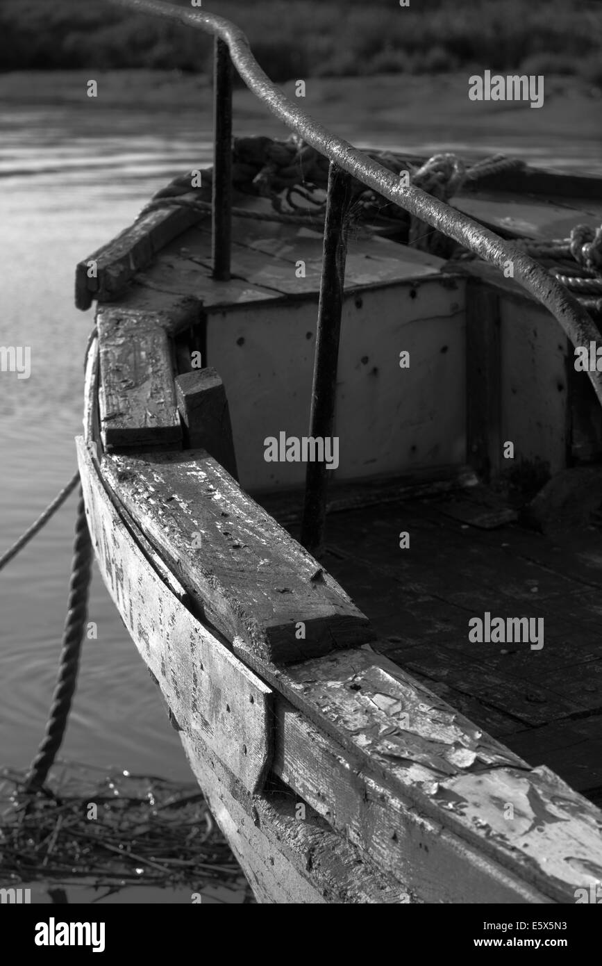 Boat moored and waiting - Stock Image