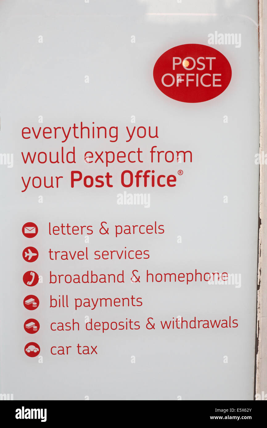 Post Office everything you would expect from your Post Office - Stock Image