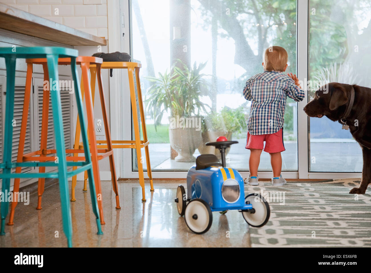 Male toddler looking out of patio door in kitchen - Stock Image
