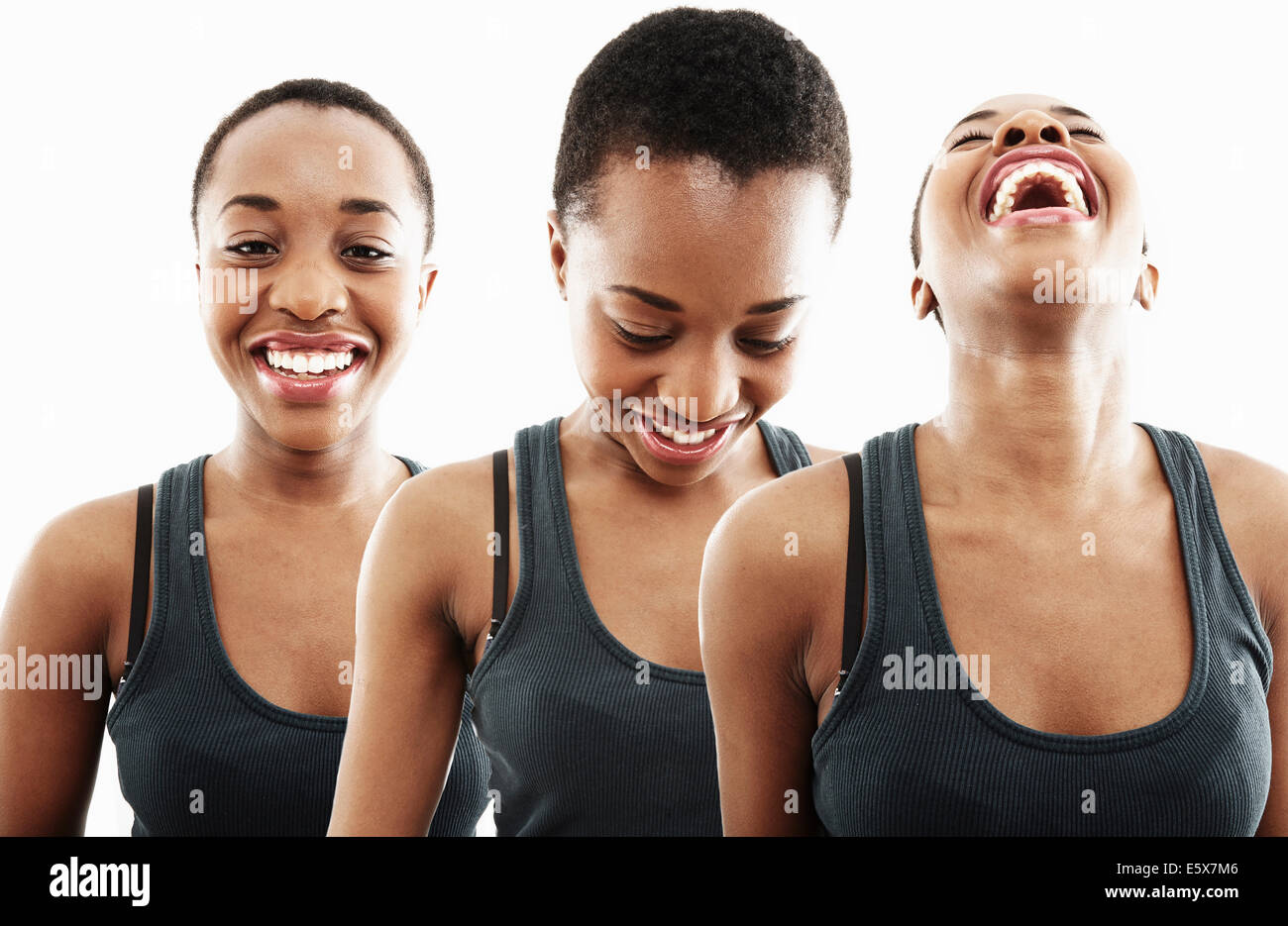 Three time multi exposure of young woman smiling and laughing - Stock Image
