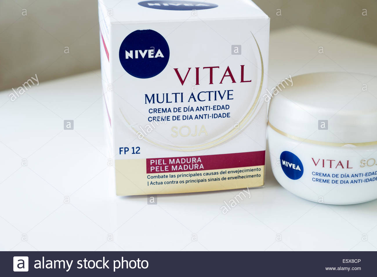 Nivea Vital soja moisturising day cream as sold in Portugal with box Stock Photo