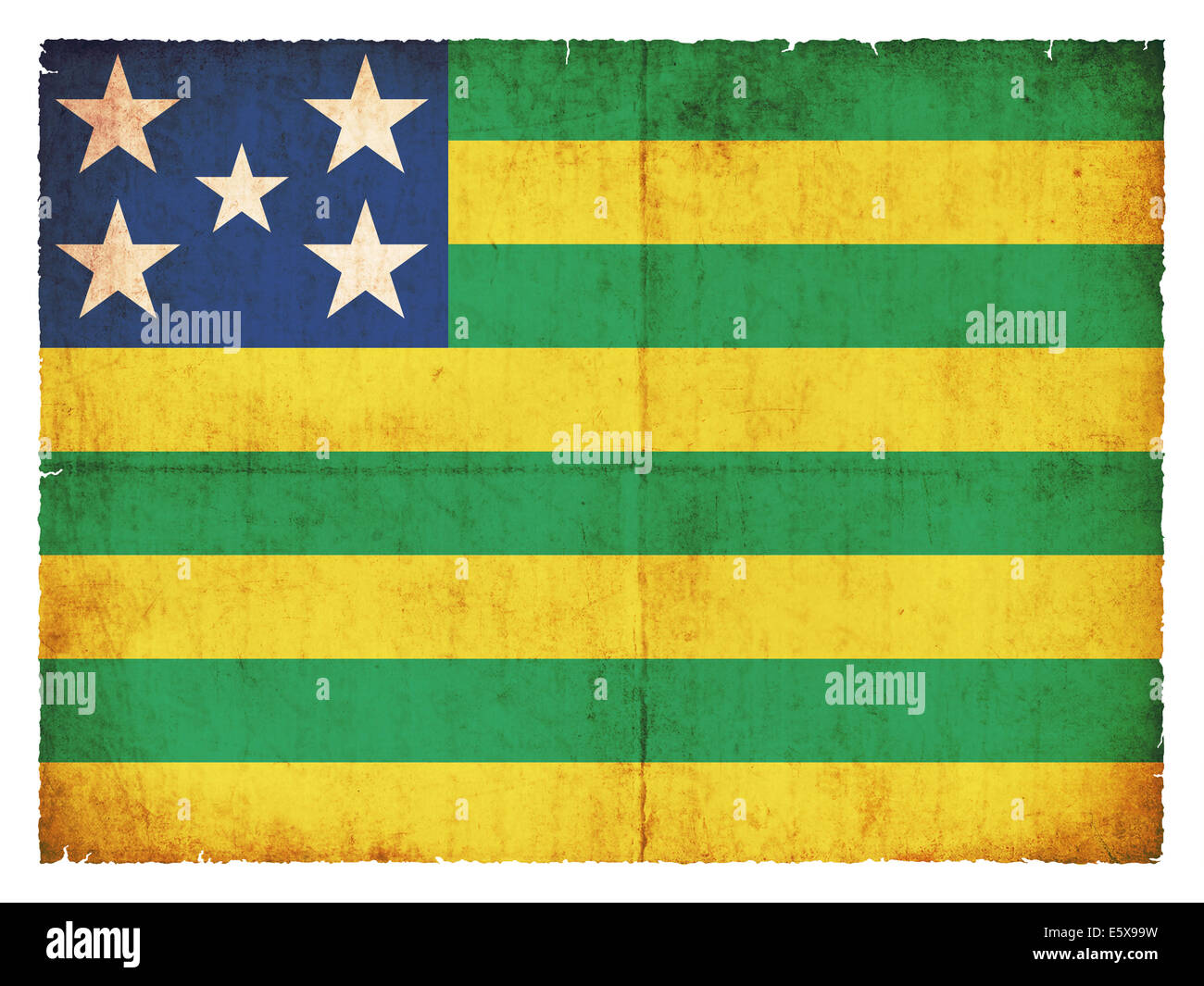 Flag of the Brazilian state Goias created in grunge style - Stock Image