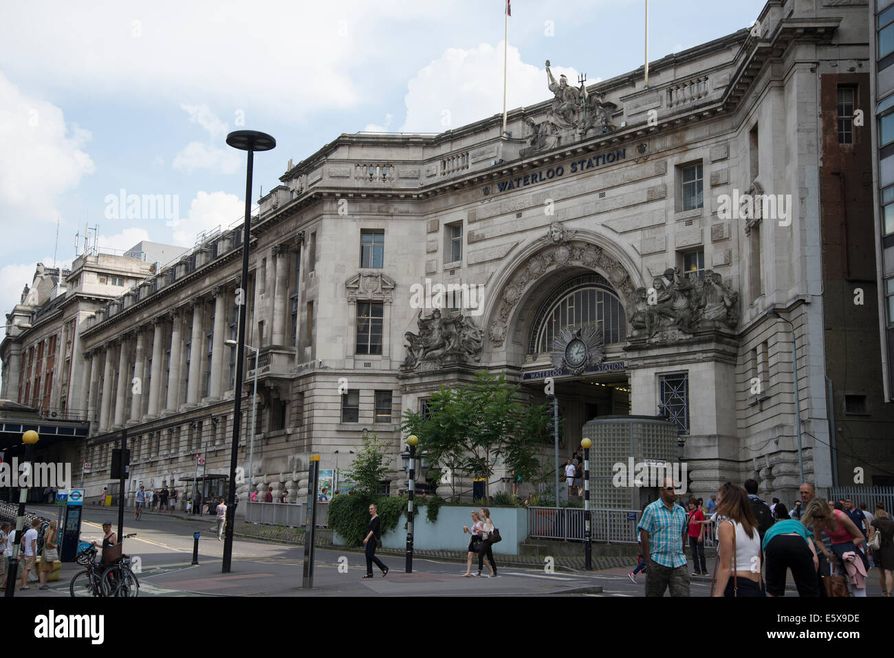 Main entrance and facade of Waterloo Station, London, England - Stock Image
