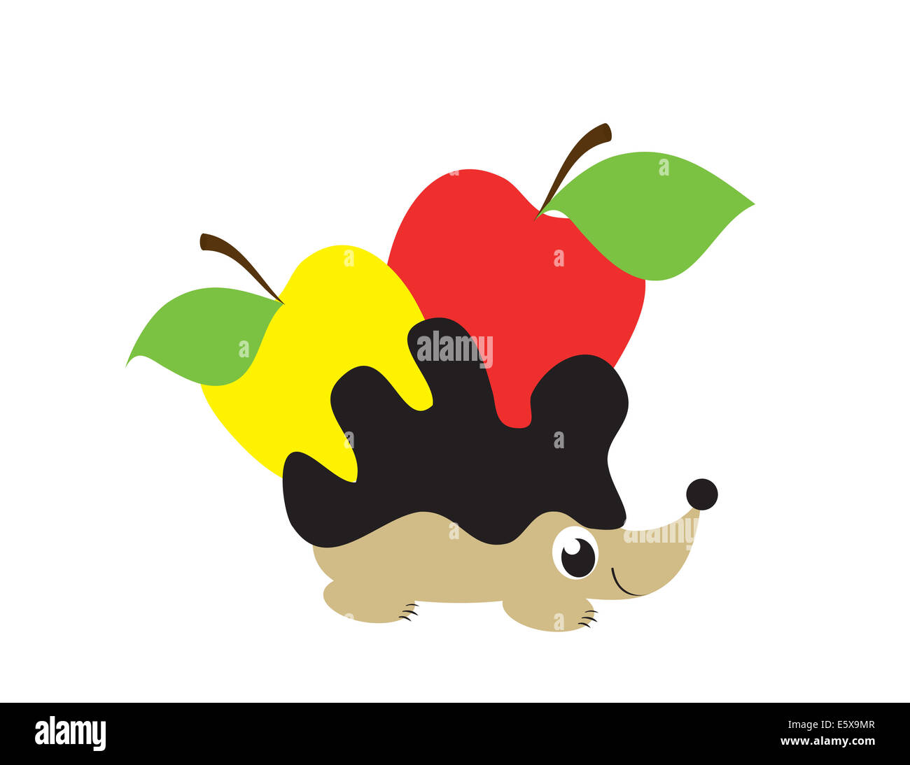 hedgehog with yellow and red apples on whiye background - Stock Image