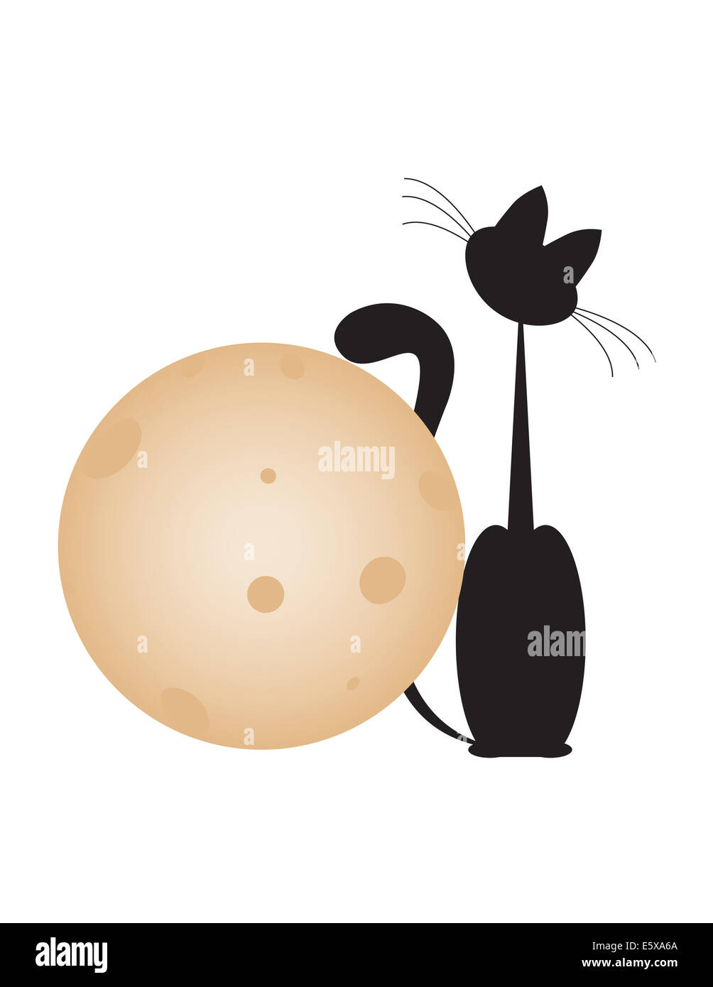 black cat sit with big gold moon on white backgrounds - Stock Image