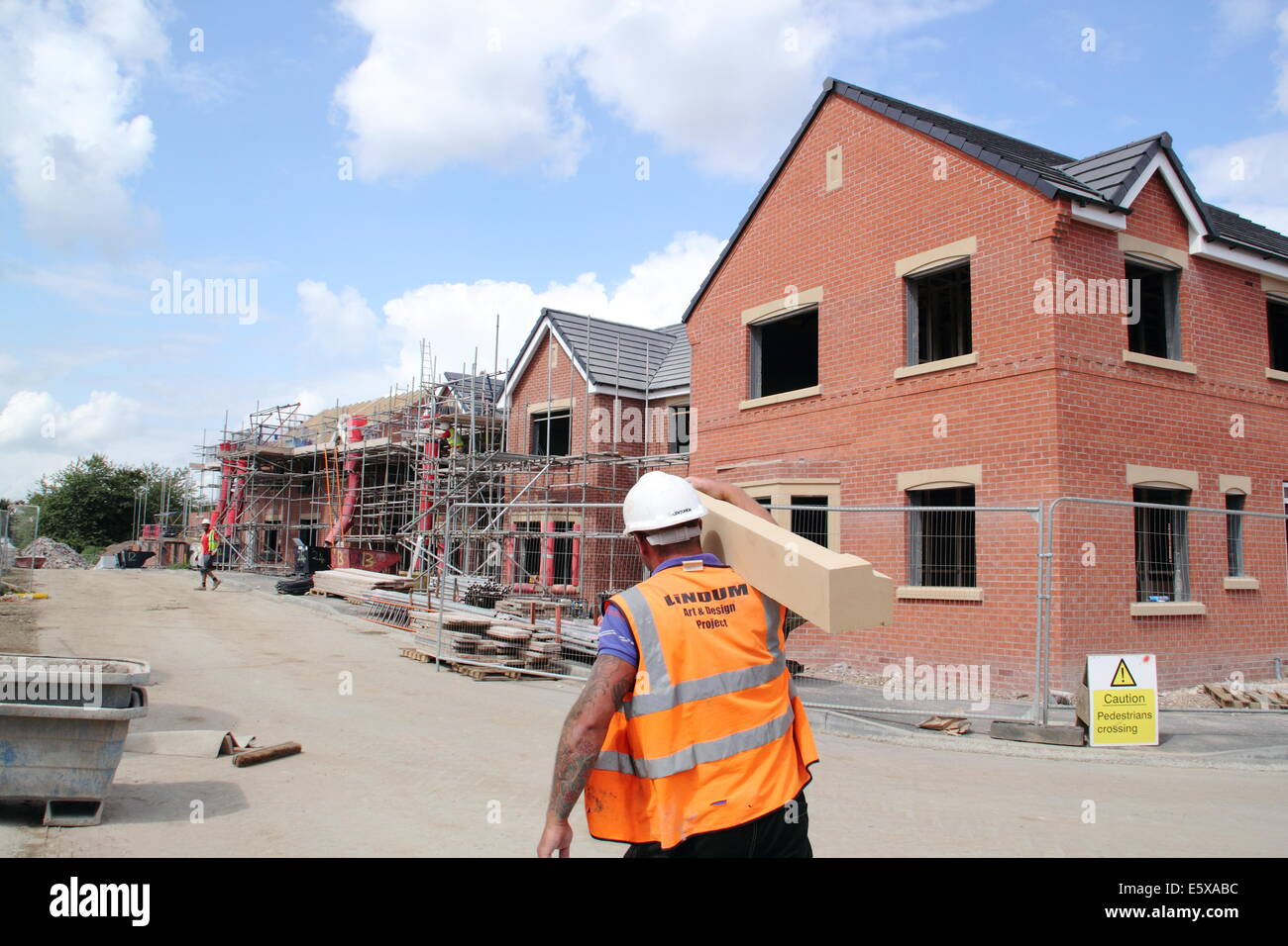 New homes constructed on UK building site, Derbyshire, Britain - summer - Stock Image