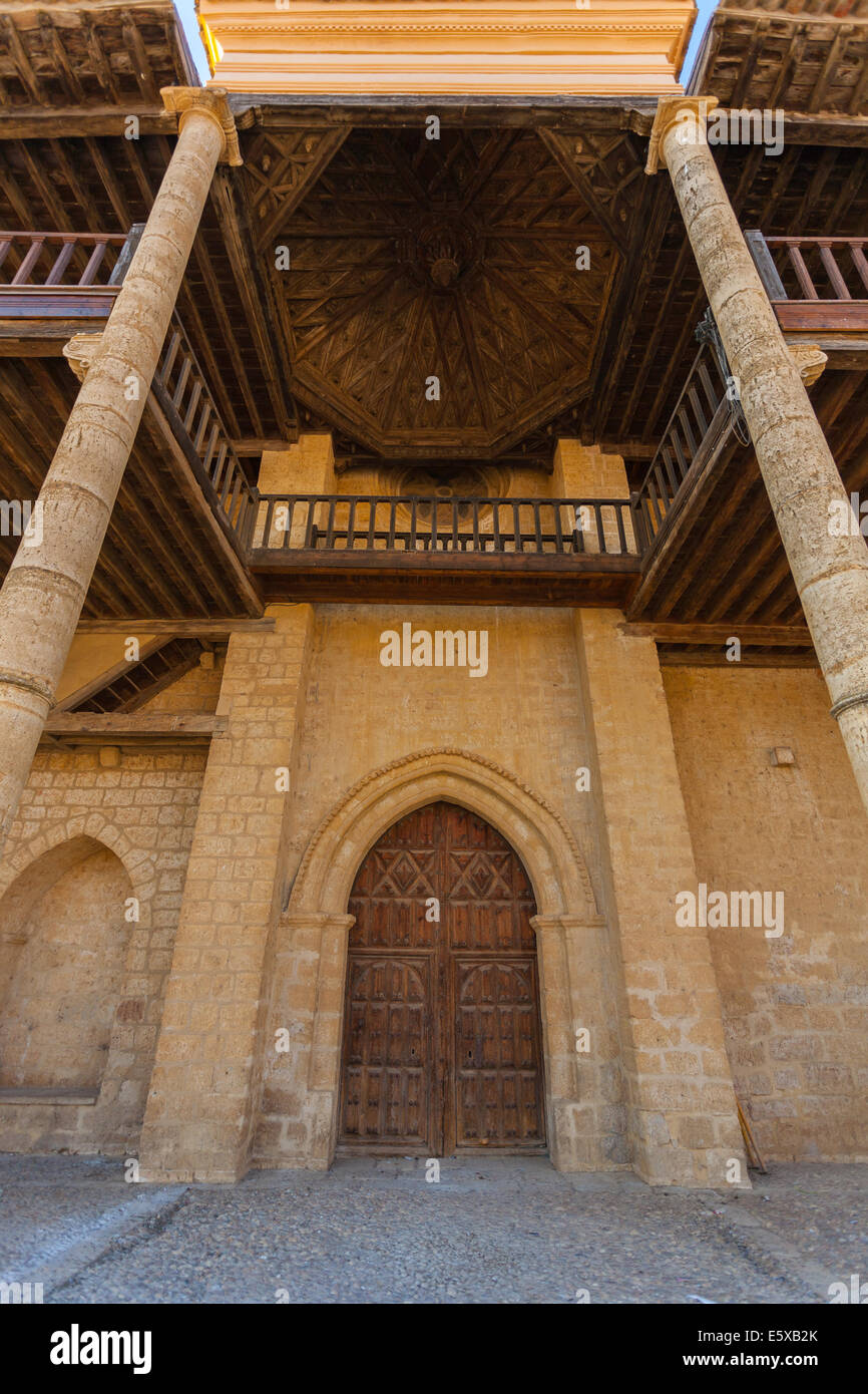 Entrance door of Santa Maria Church in the village of Becerril de Campos province of Palencia, Spain - Stock Image