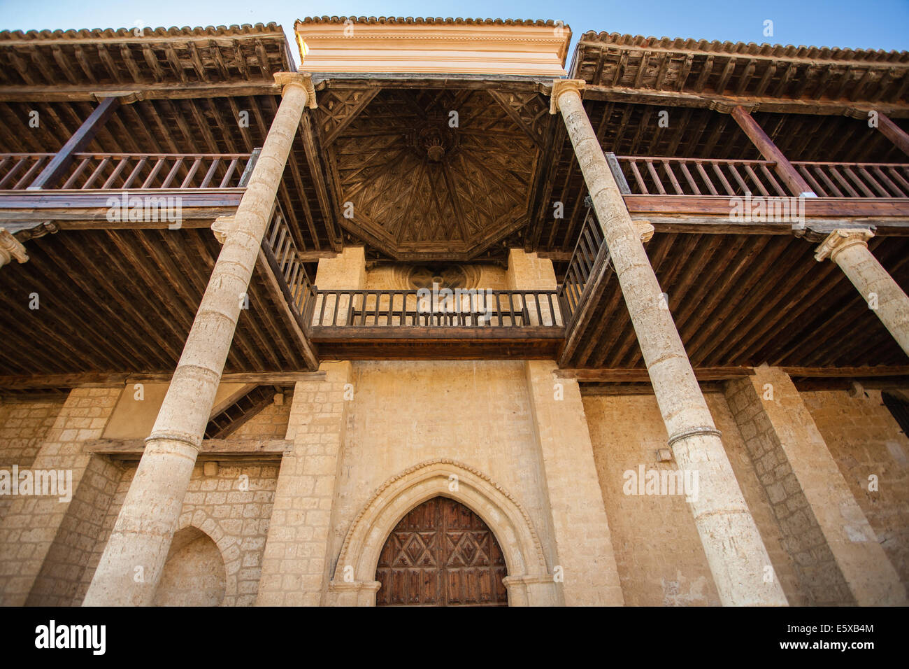 Full view facade of Santa Maria Church in the village of Becerril de Campos province of Palencia, Spain. It is also - Stock Image