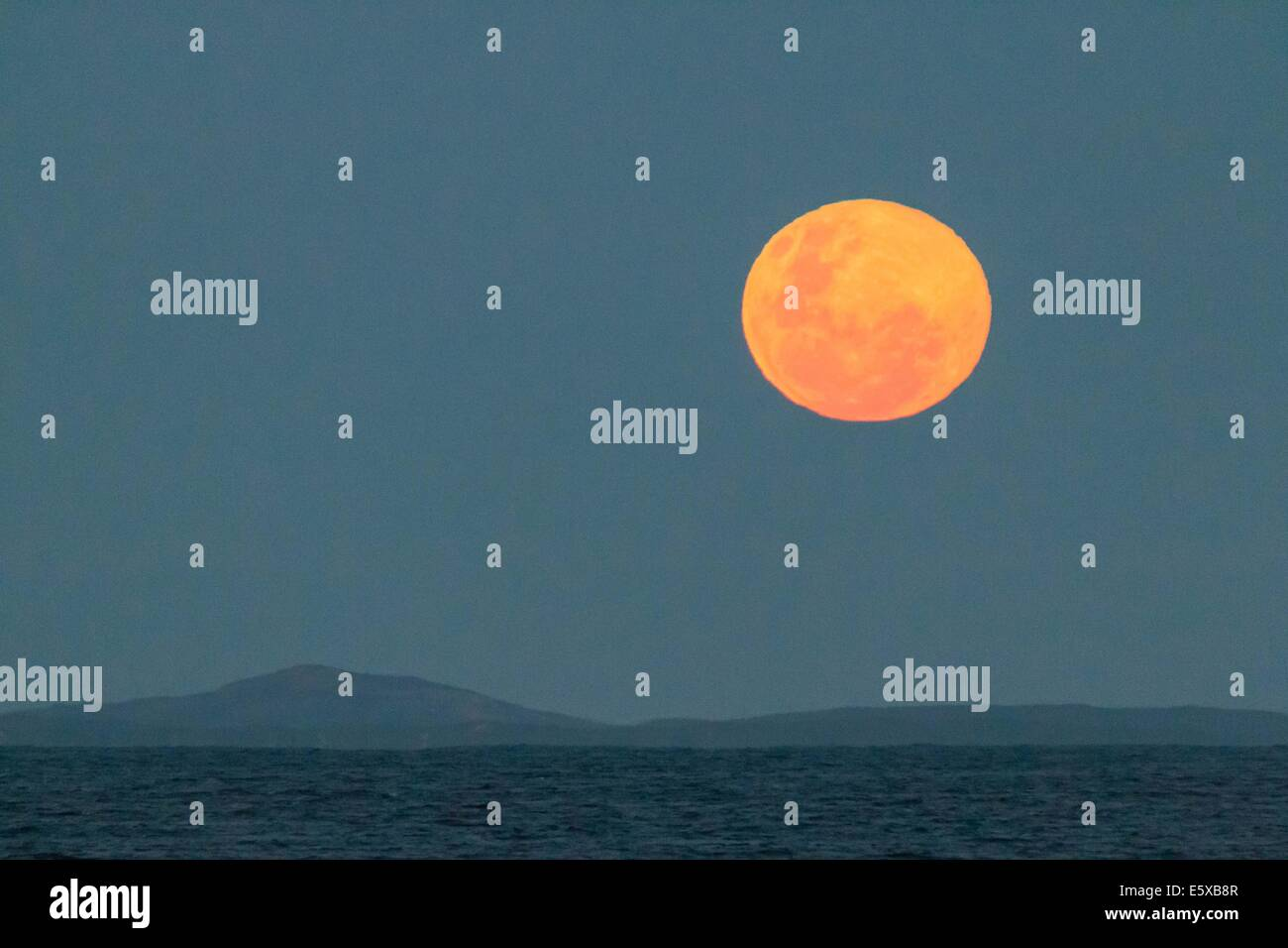 Fullmoon Over The Sea - Stock Image