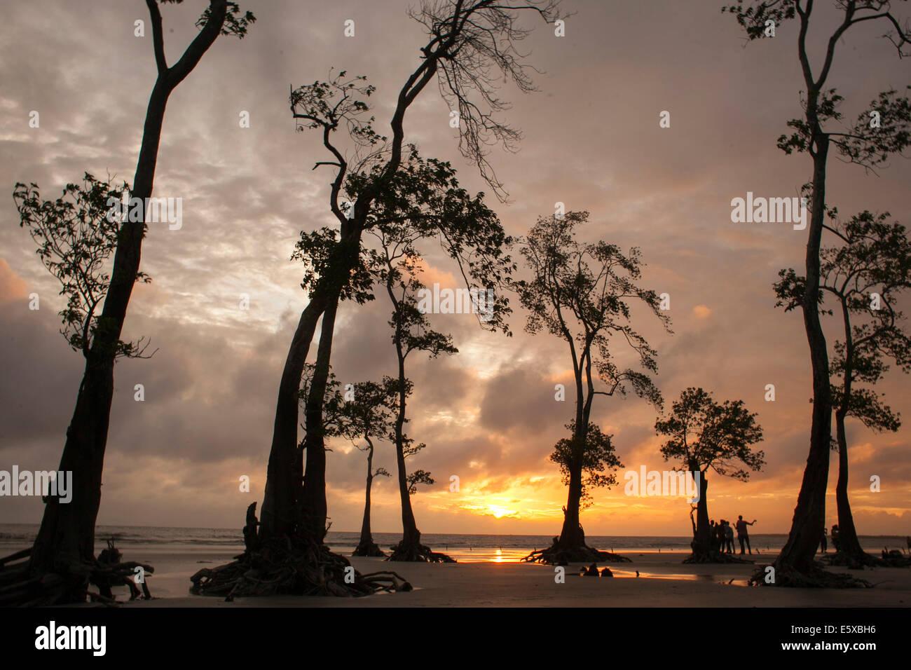 Sunset at kuakata sea beach in Bangladesh - Stock Image