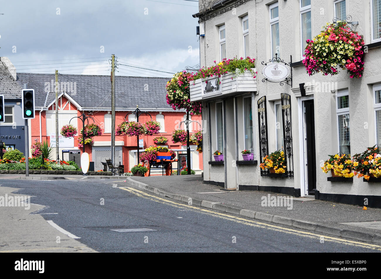 Ballymena, Northern Ireland. 7th Aug 2014 - Village of Ahoghill with lots of floral displays Credit:  Stephen Barnes/Alamy - Stock Image