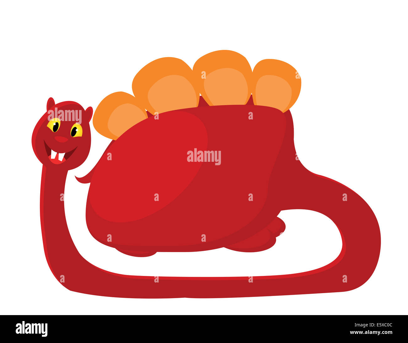 big red with orange dino on white background - Stock Image