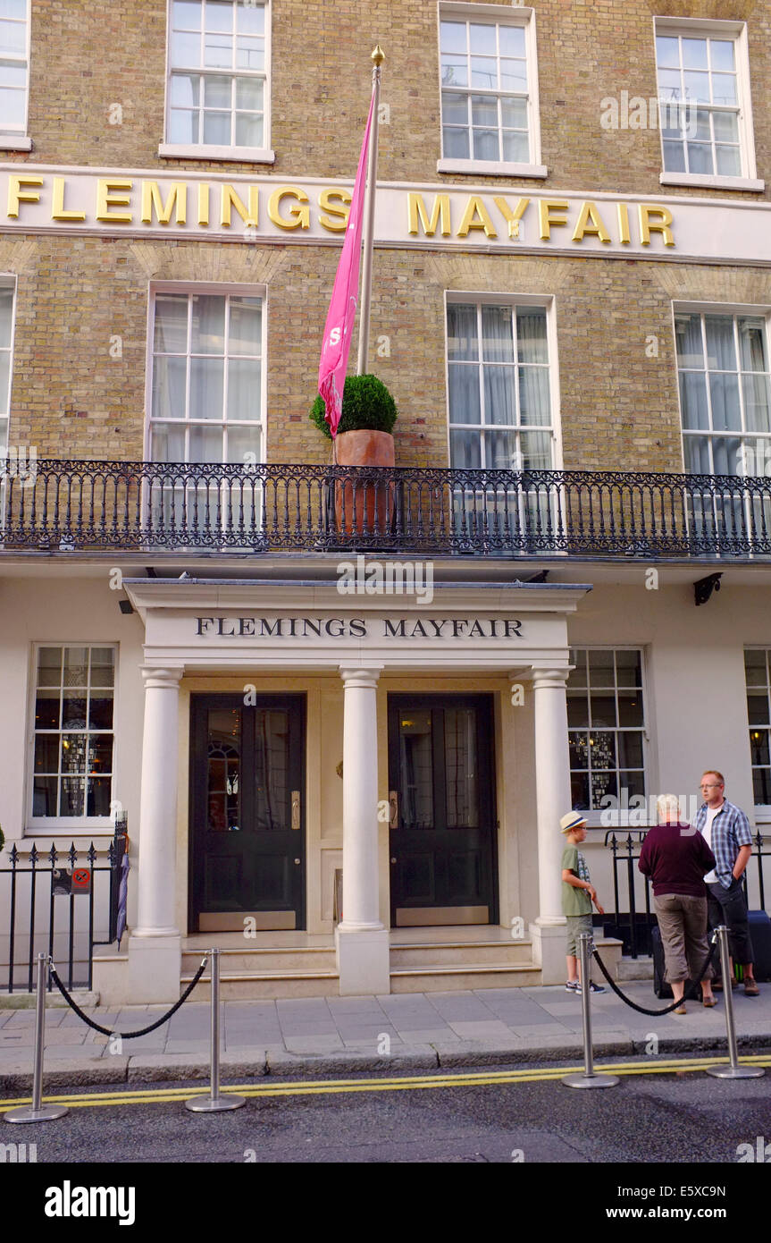 FLEMINGS MAYFAIR Hotel on Half Moon Street, Mayfair, London - Stock Image