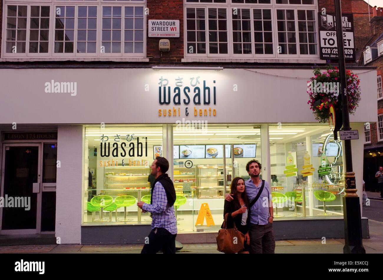 Wasabi sushi & bento Japanese takeaway on Wardour Street, Soho, London - Stock Image