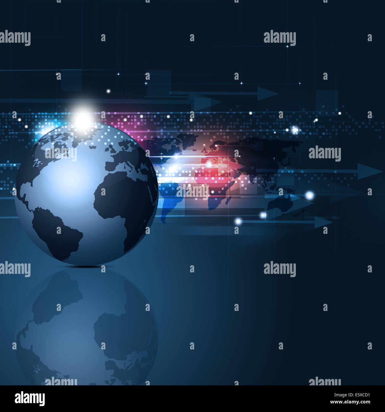abstract background with square dots arrows lights and business world map - Stock Image