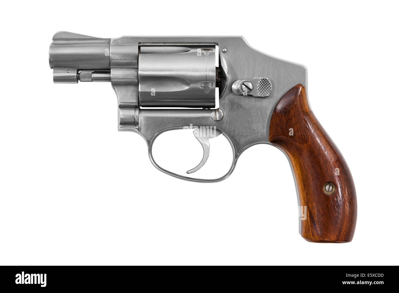 Five shot 38 caliber single action revolver handgun isolated with clipping path. - Stock Image