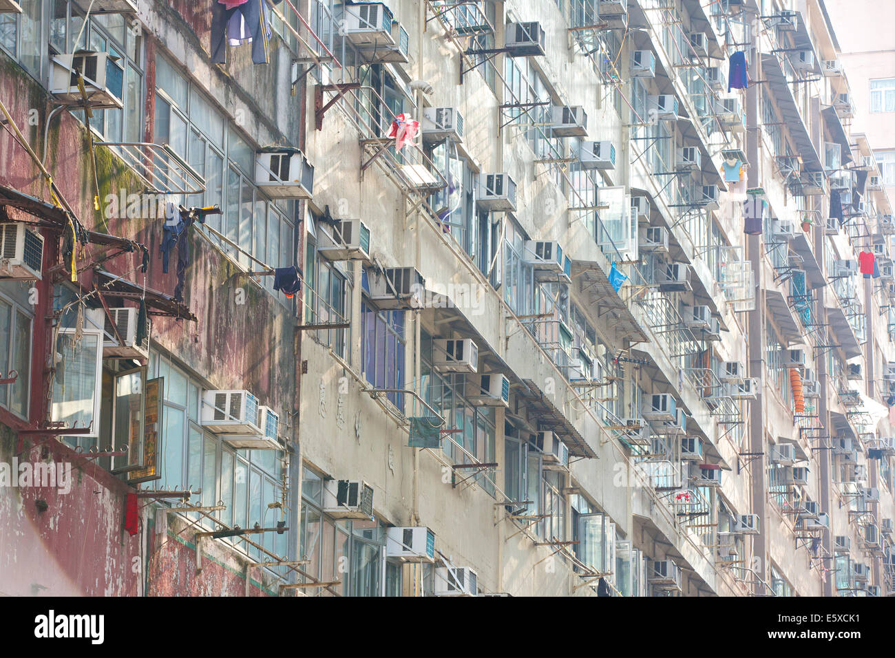 Dystopian Residential Apartment Building In Chun Yeung Street, Hong Kong. - Stock Image