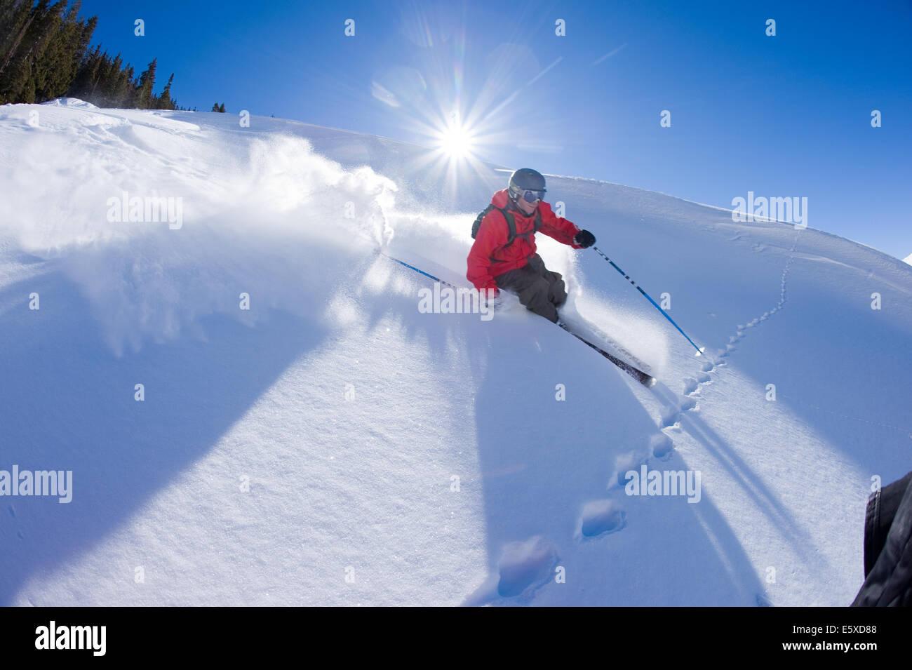 Kiffor Berg skiing in Aspen, Colorado - Stock Image