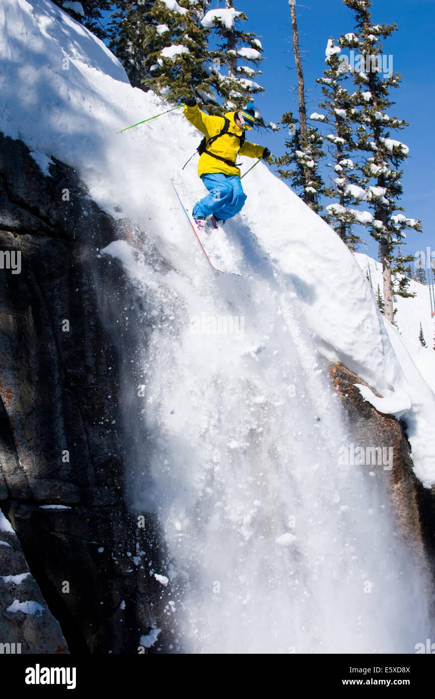 Dash Longe skiing at Brighton, Salt Lake City, Utah - Stock Image
