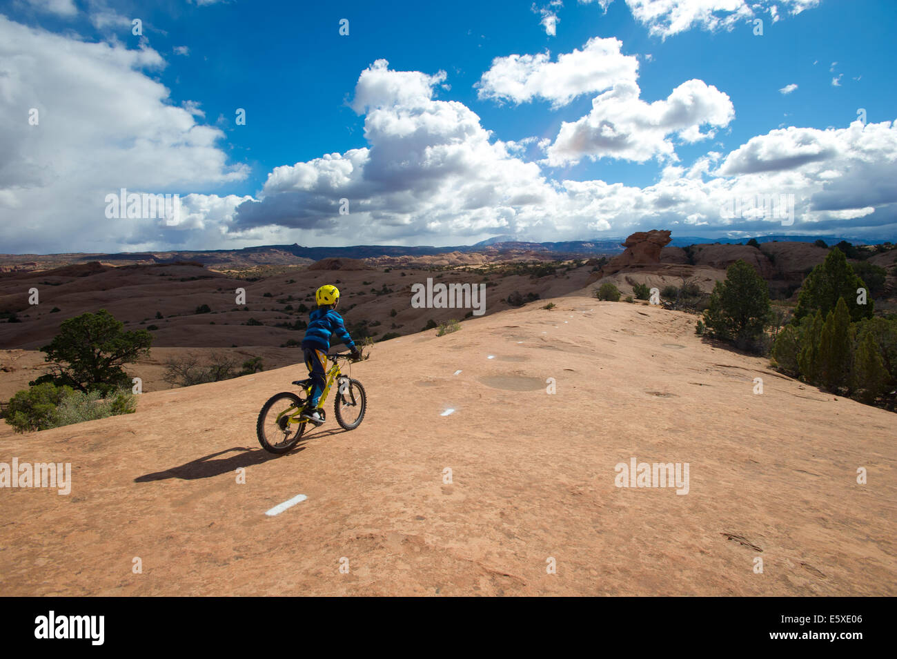 Julien Markewitz Sitting on his Bike During Slick Rock Trail Ride in Moab UT Stock Photo
