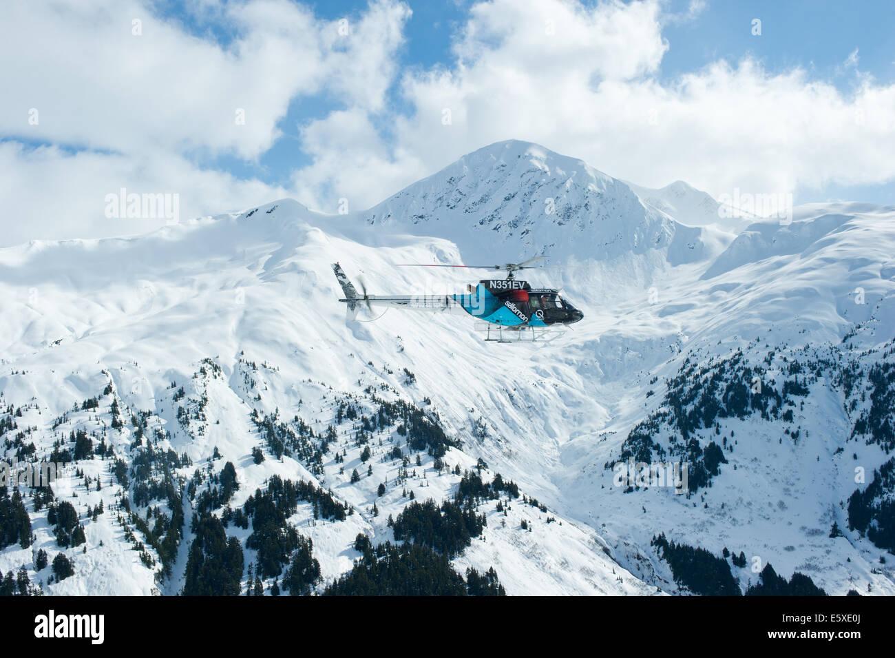 Chugach Powder Guides Salomon Helicopter, Girdwood, Alaska. - Stock Image