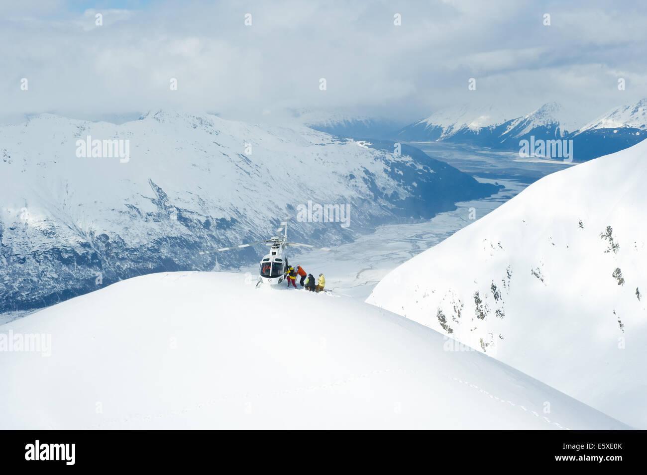 Chugach Powder Guides Go Pro Helicopter, Girdwood, Alaska. - Stock Image