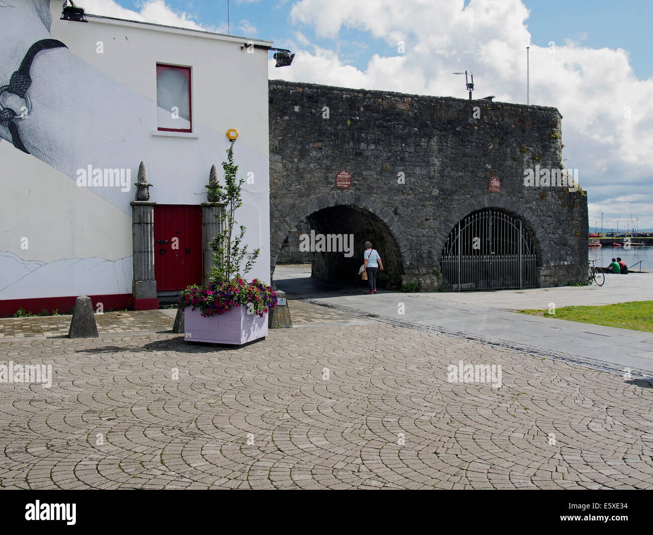 The Spanish Arch and Blind Arch from old city walls of Galway city, entrance to The Long Walk quay along the River - Stock Image