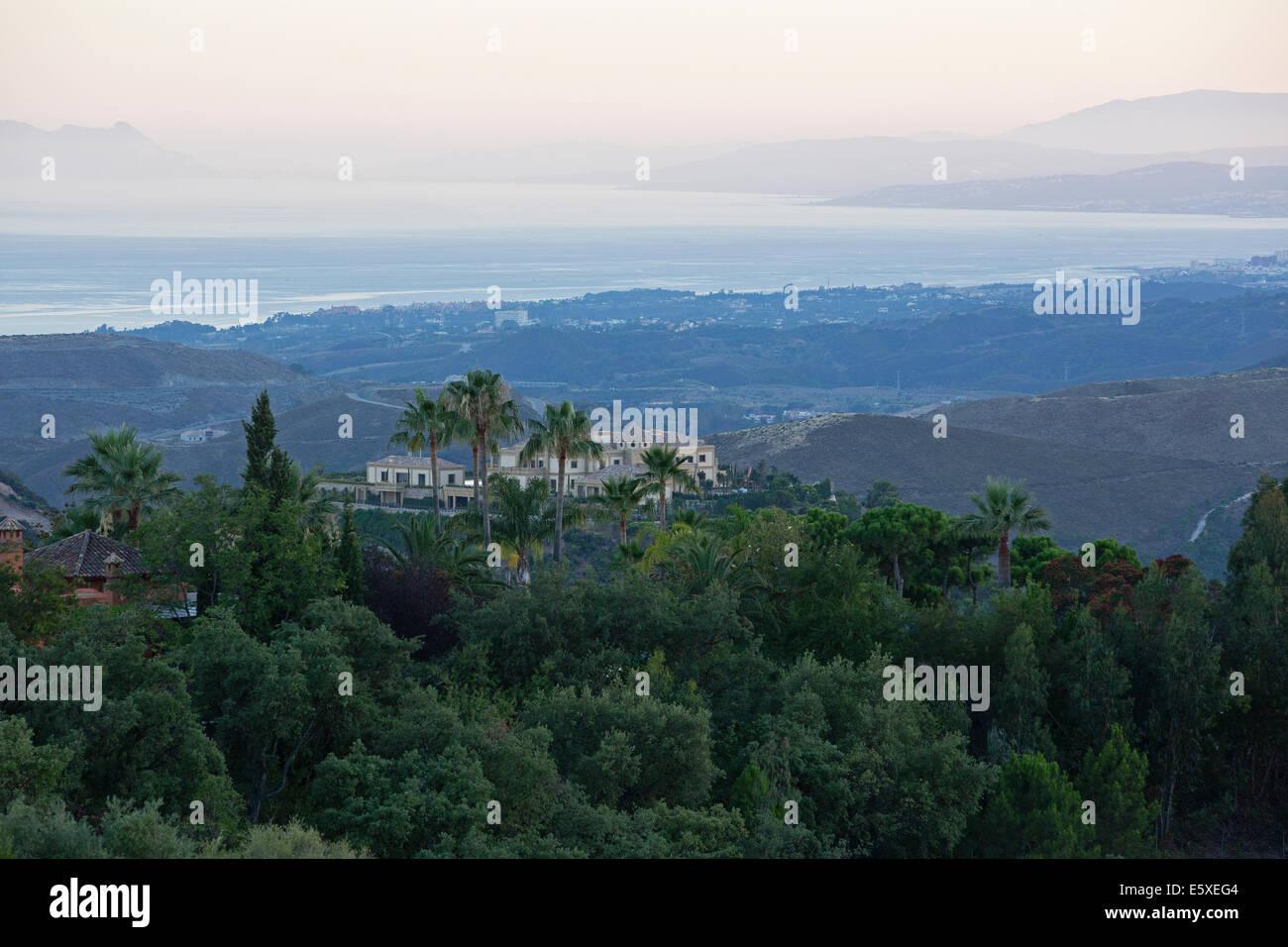 Large Villa built on flattened hilltop in the exclusive luxury mountain retreat of La Zagaleta - Stock Image
