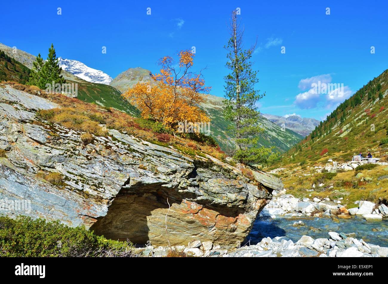 autumn Zillertal Alps High Alpine Nature Park of the Zillertal Alps, Tirol, Austria. Zillertal Main Ridge rocks Stock Photo