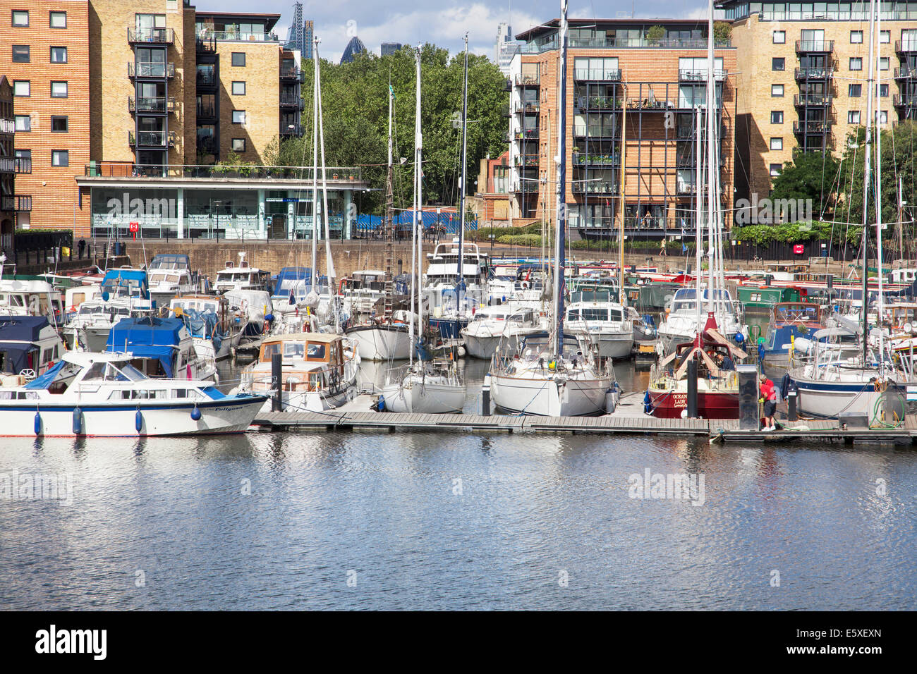 Limehouse Basin in East London on a sunny day Stock Photo