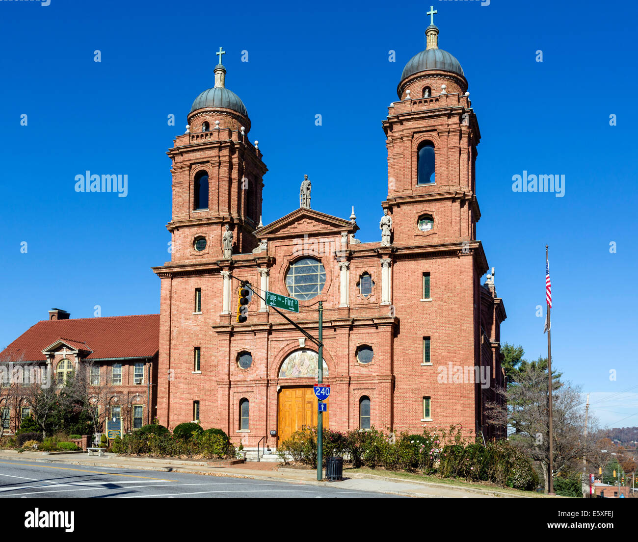 The Basilica of St Lawrence on Haywood Street in downtown Asheville, North Carolina, USA - Stock Image