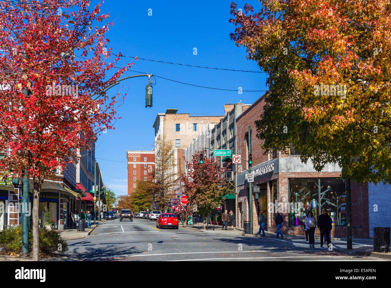 Haywood Street in downtown Asheville, North Carolina, USA Stock Photo