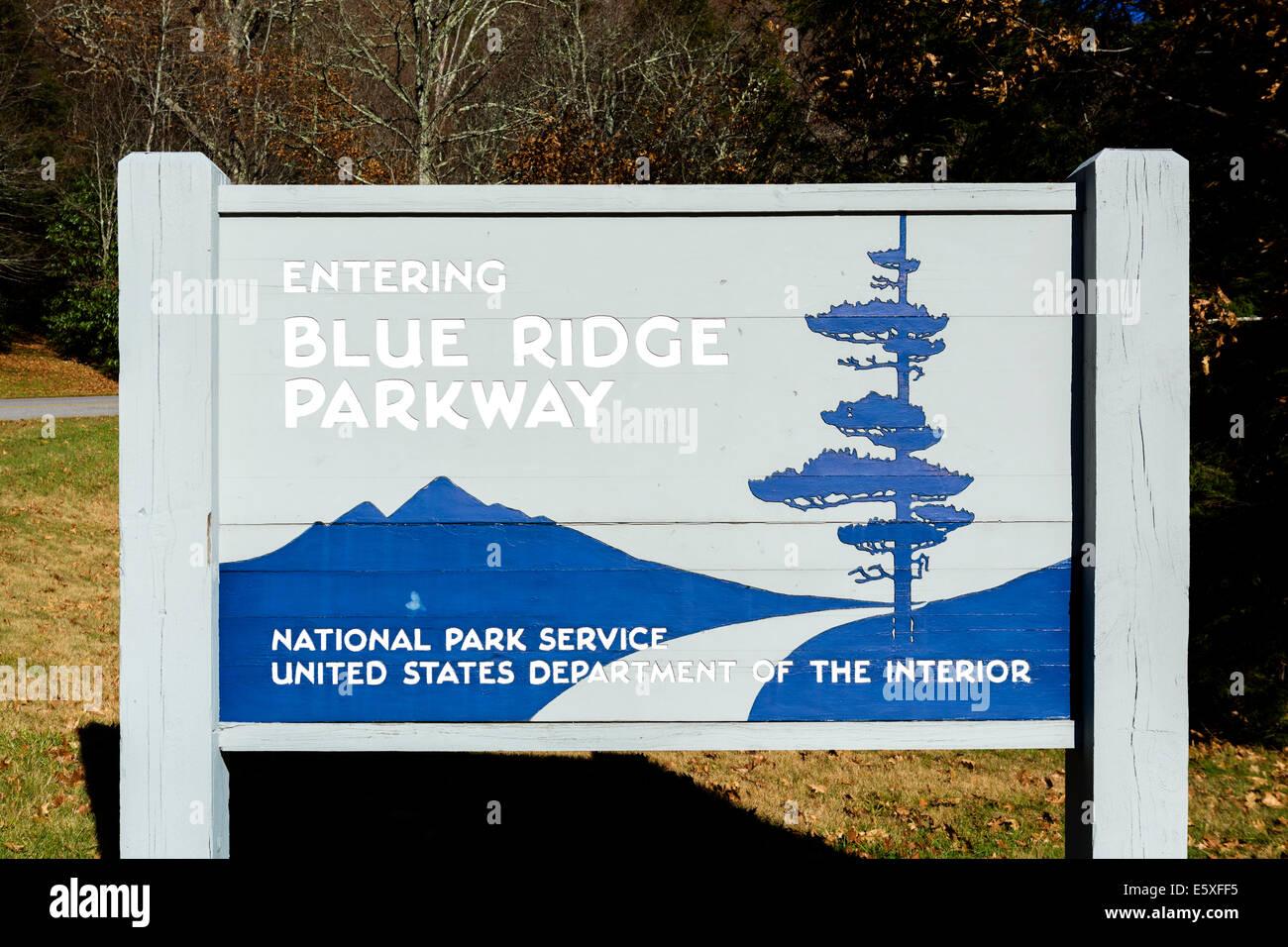 Entrance to the Blue Ridge Parkway near Cherokee, North Carolina, USA Stock Photo