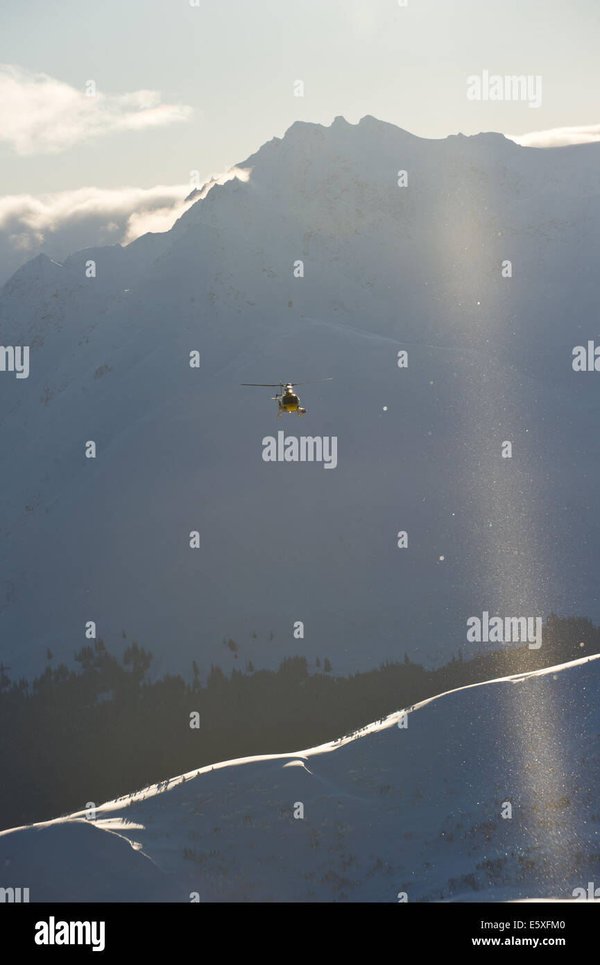 A search and rescue helicopter in Haines, Alaska - Stock Image