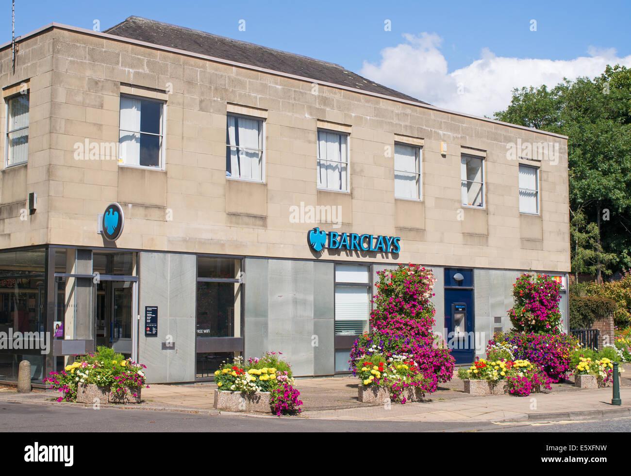 Floral display outside Barclays Bank, Ponteland, Northumberland, north east England, UK - Stock Image