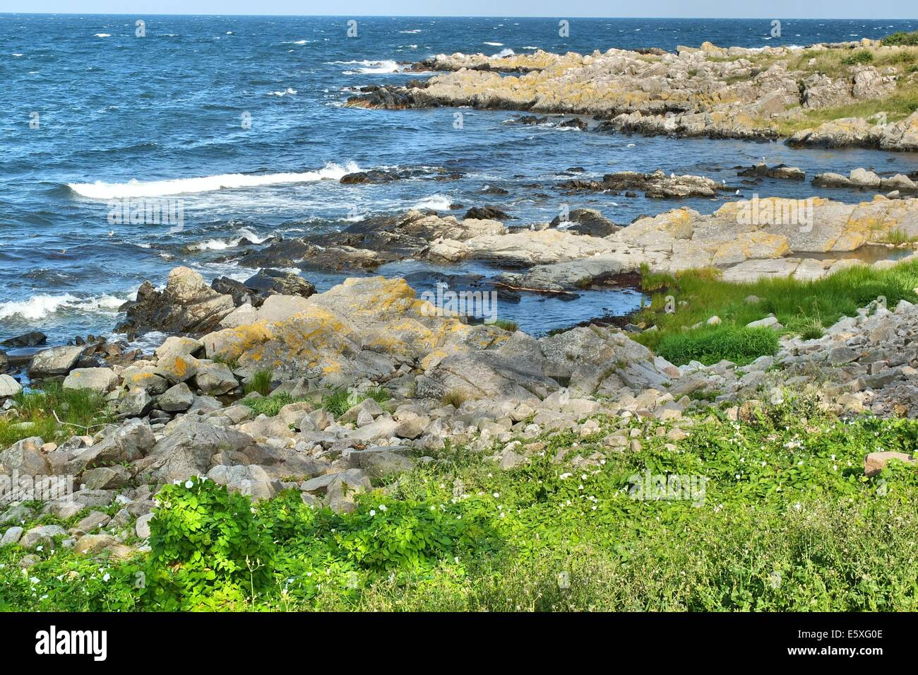 Denmark, Bornholm Island Pictures taken between 1st and 5th August 2014.  Pictured: Rocky coast of the Allinge city Stock Photo
