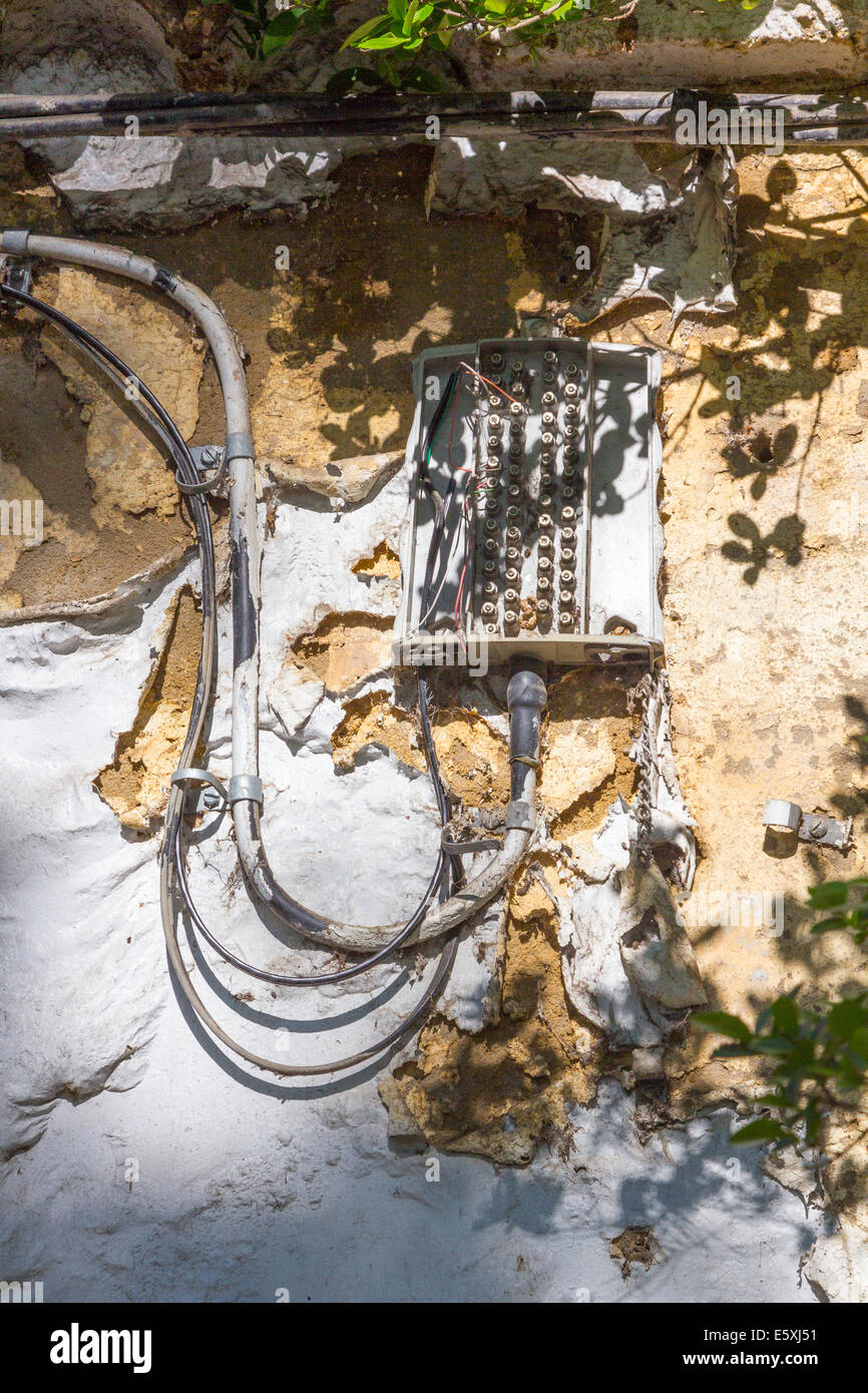 Telephone Underground Cables Stock Photos Electrical Wiring Under House And In Old Image